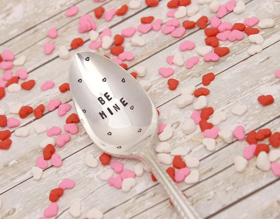 BE MINE Spoon - Valentine's Day Gift - Sweetheart - Hand Stamped - Coffee Stir Stick - Vintage Silver Plated Silverware