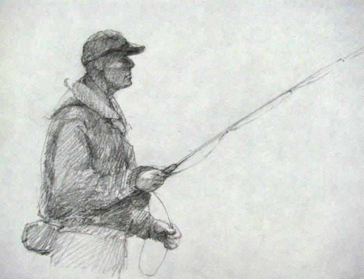 fly fisherman drawing - photo #1