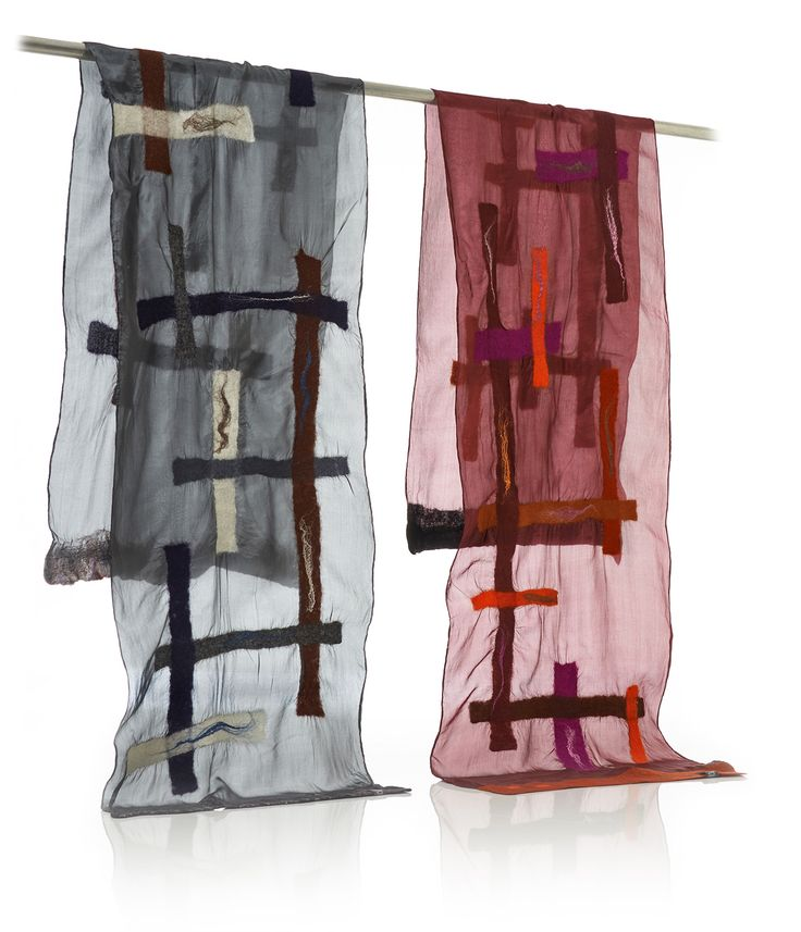 """""""LINES"""" silk pongé scarves decorated with merino wool and silk fibres. Handmade, ethereal and unique. With Nuno Felting Technique."""