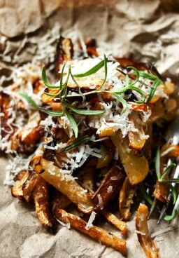 TURNIP FRIES with PARMESAN & ROSEMARY [grayskymorning] [parmigiano-reggiano, parmesan] [french fries, fries, pommes frites, frites, frieten, chips, potato wedges, steak fries, potato logs, shoestring fries, shoestring potatoes] [plating inspiration, image only]
