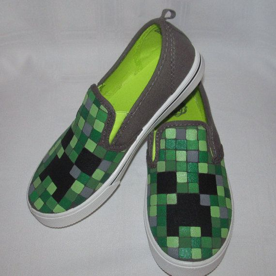Check out this item in my Etsy shop https://www.etsy.com/listing/249037235/minecraft-shoes-glow-in-the-dark-creeper
