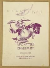 FOOTBALL/ENTERTAINMENT - A dinner menu for the 'Mad Hatters Dinner Party 23 September 1989 at the Hilton National Watford New Hertford Suite. 8vo. 4pp. SIGNED by Bobbie Moore, George Best, Geoff Hurst Jimmy Tarbuck and others.