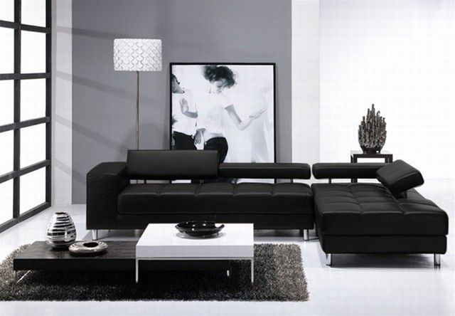 Not The Furniture But The White With Black Leather Sofa One Gray Wall Now Add Red Accent Pop Apartment Size Furniture Leather Sectional Decor Couch Decor