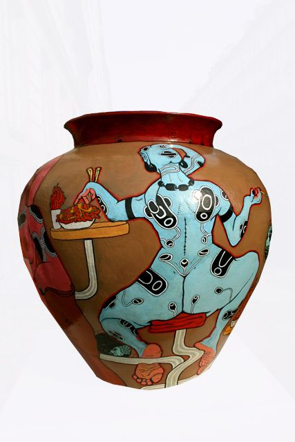 Artist Pascoal Sissero: Art-pottery, Hight 80 cm. Acrylics, markers and lacquer.