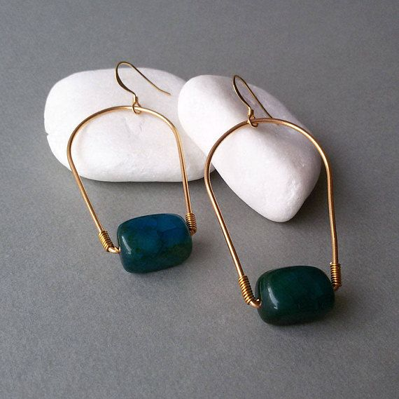 Gold Plated Earrings with Green Agate Gemstone Beads