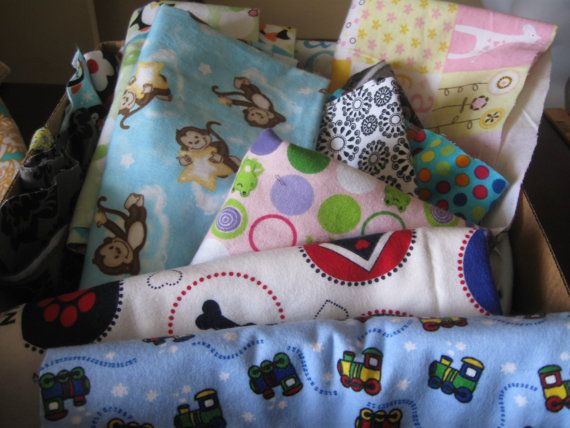 box full  flannel Fabric scraps pieces for quilting by MILKYBABY50, $15.99