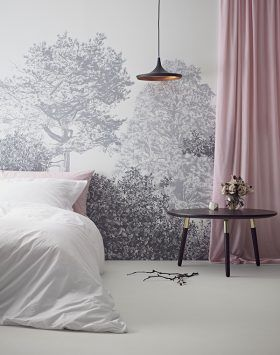 Chinese Storytelling Trees Wall Mural Childrens Grey Wallpaper | Sian Zeng — Sian Zeng