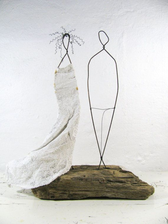 Hochzeit paar Treibholz und Draht Skulptur von idestudiet auf Etsy