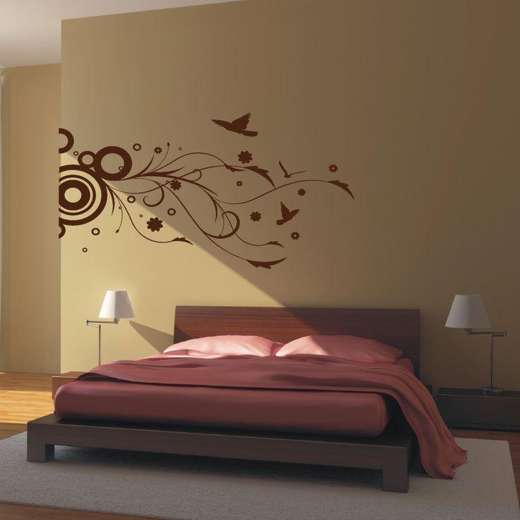 Vinyl wall art modern floral decal sticker home for Design divas wall art