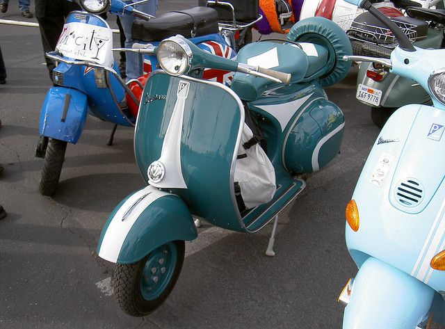 navy blue & white Vespa