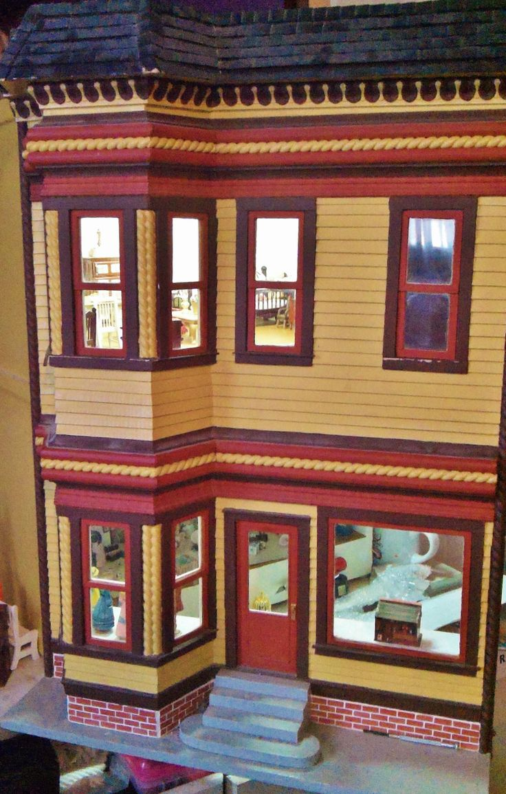 One of 6 houses. My favorite. This is a 1950 San Francisco Toy Store, and up stairs living quarters. I bought this from a women in her 80 Doll houses were her life & her Mom. I can pass on the best advise to making the perfect house, before starting create a story of who's living here. I've been offered over $30,000 for this!