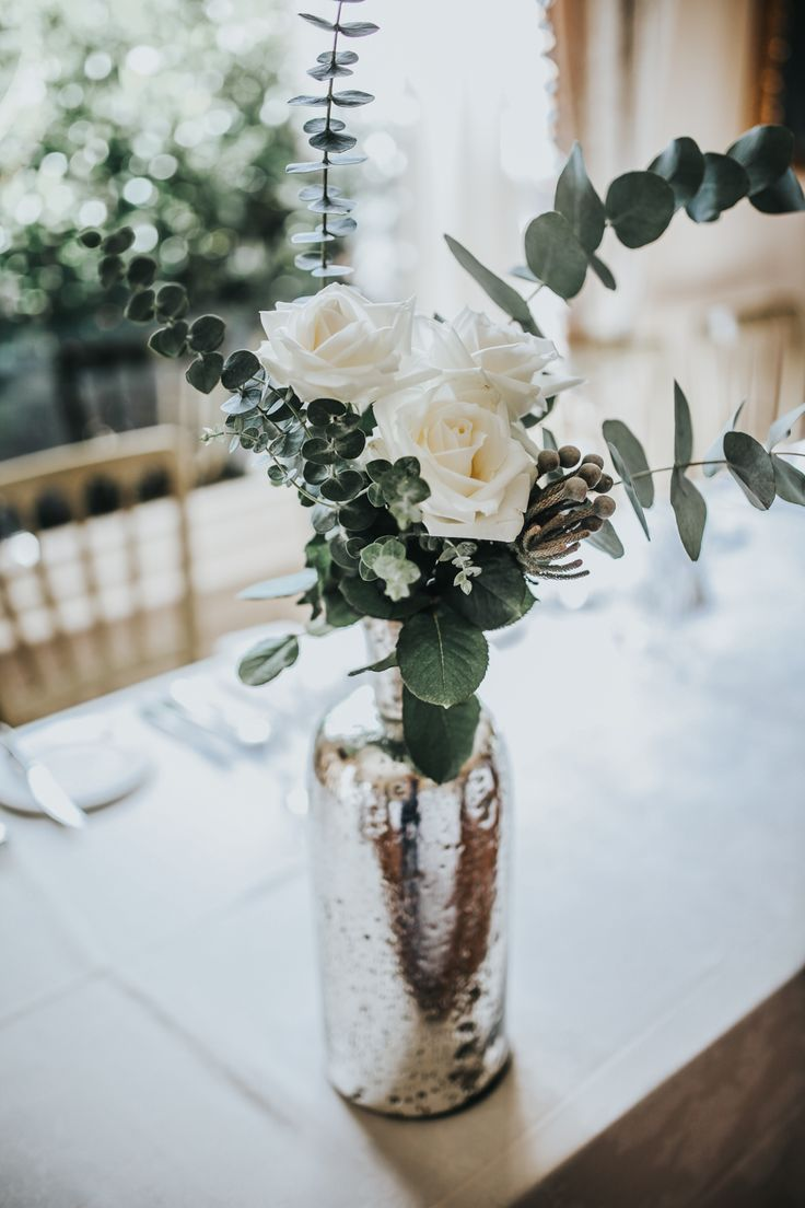 Mercury Glass Vase, Eucalyptus & White Flowers - Darina Stoda Photography | Lusan Mandongus Wedding Dress | Jenny Packham Headdress | Pastel Green & White Wedding at Mount Ephraim Gardens