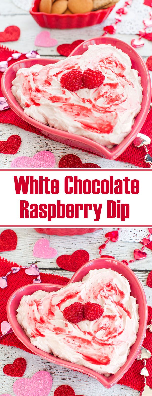 Easy dip recipe is perfect for a shower or Valentine's Day. This white chocolate raspberry cheesecake dip makes a great dessert for a party.