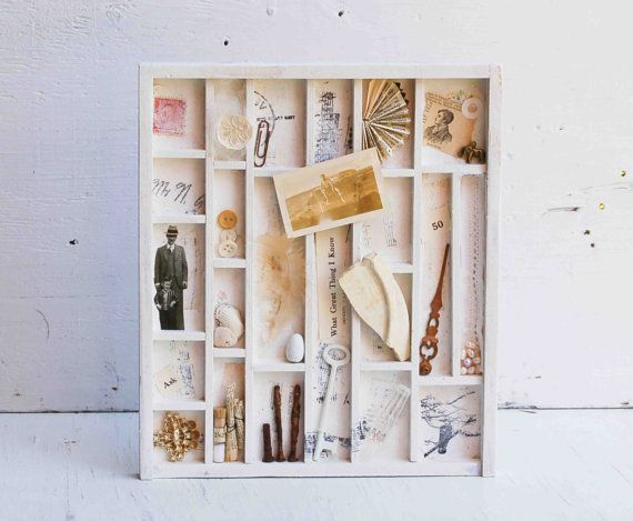 Collection from the Past - Vintage Compositotion imprimante Type BOX Art rempli Assemblage mixte Collage