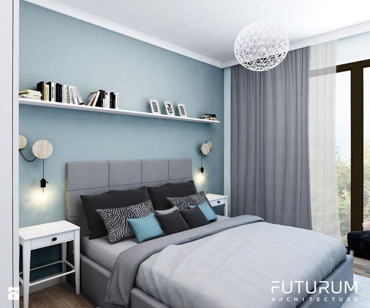 Projekt wnętrza, Bajeczna, Kraków - Mała sypialnia dla gości małżeńska, styl nowoczesny - zdjęcie od FUTURUM ARCHITECTURE