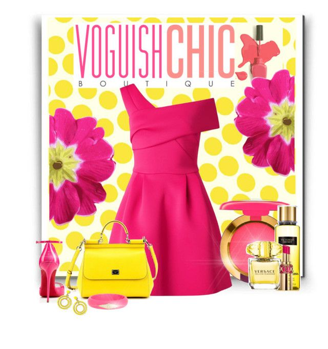 """""""Pink & Yellow"""" by fatima92 ❤ liked on Polyvore featuring Jennifer Paganelli, Miss Selfridge, Dolce&Gabbana, Christian Louboutin, MAC Cosmetics, J.Crew, Ariella Collection, Victoria's Secret, Versace and Yves Saint Laurent"""