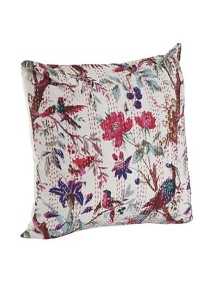 60% OFF Saro Lifestyle Ivory Printed Pillow with Kantha Stitches