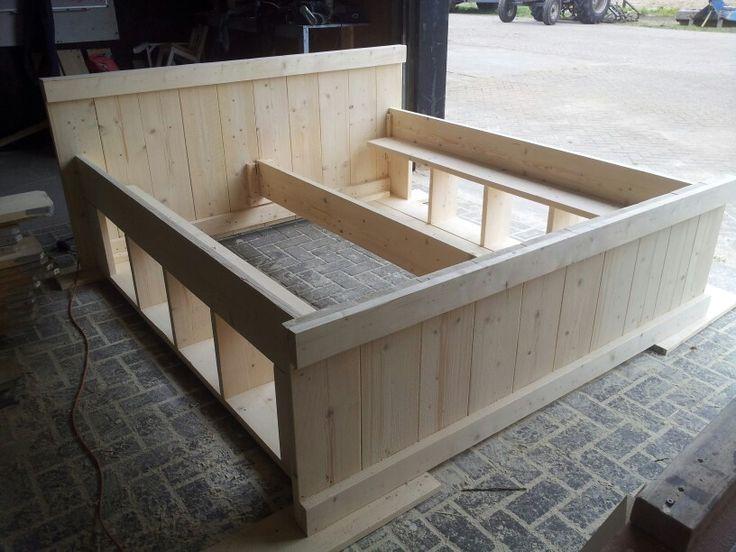 2 persoons bed steigerhout