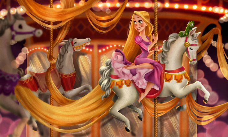 This week's #DisneySide Doodle was created by artist Ty Amato and showcases Rapunzel and her good pal, Pascal, taking a ride on the carousel!