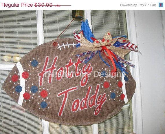 25% OFF SALE Ole Miss Burlap Football Hotty Toddy Burlap Football Burlap Football Door Hanger Collegiate Burlap Football