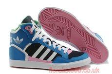 dames adidas extaball lederen hoge top sneaker blauw