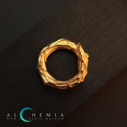 The Bough ring. Gilded silver. Handmade by Alchemia Jewellery.