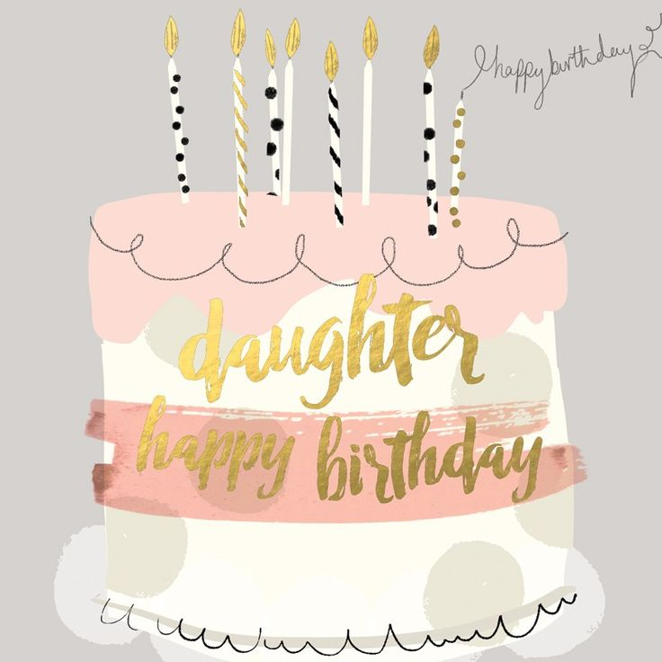 "Beautiful birthday card for daughters, featuring a birthday cake and caption: ""Happy birthday daughter"""