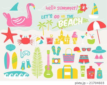 summer beach illustration set,vector illustration