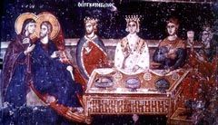 Wall-painting of the wedding at Cana, 1310-1320, Church of Agios Nikolaos Orphanos, Thessalonike.