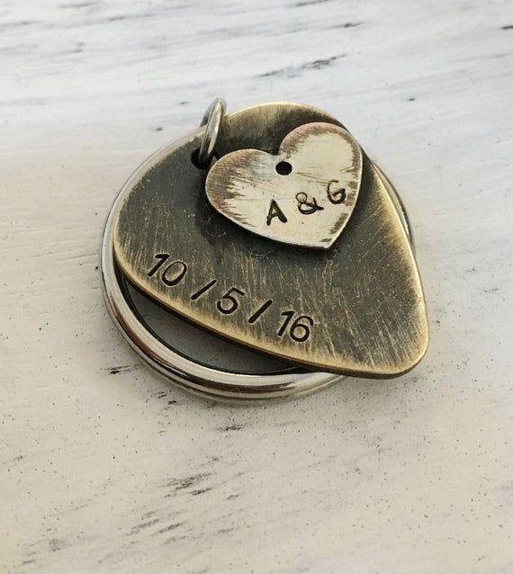 Anniversary gift for boyfriend, Valentines gift, husband, guitar pick keychain, husband keychain, boyfriend keychain, mens personalized gift