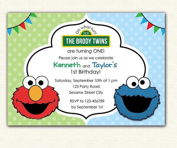Elmo And Cookie Monster Birthday Invitation PRINTABLE