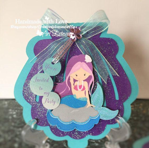 Meerjungfrau Shell Geburtstagseinladung von CreativeMoments4You