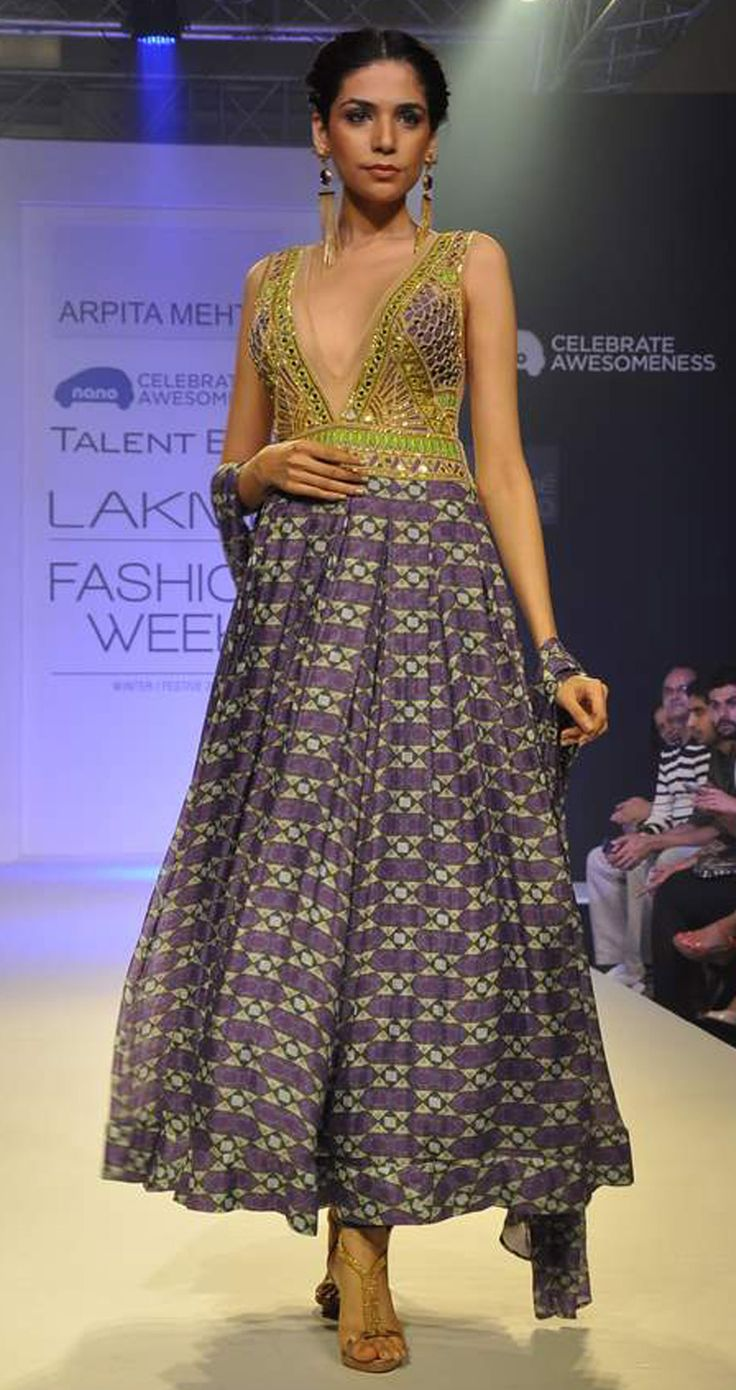 Violet geometric print outfit by ARPITA MEHTA. Shop at http://www.perniaspopupshop.com/lakme-fashion-week/arpita-mehta/arpita-mehta-violet-geometric-print-outfit-aplfw081302.html