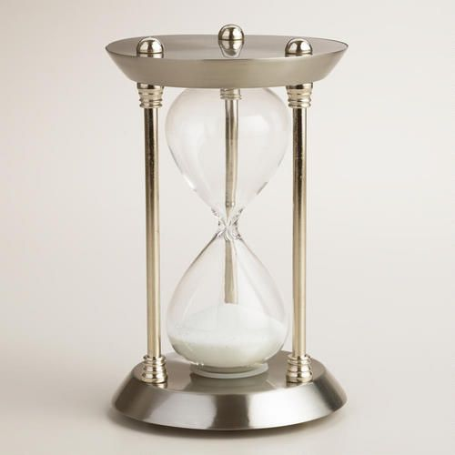 Silver Metal Hourglass With White Sand World Market