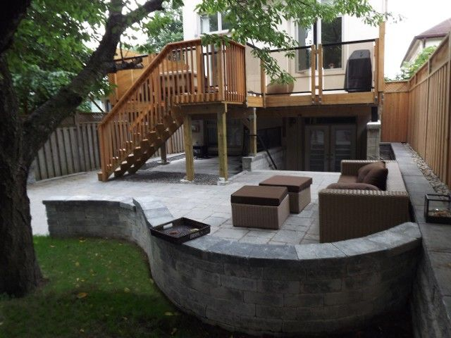 Backyard interlock patio and upper deck