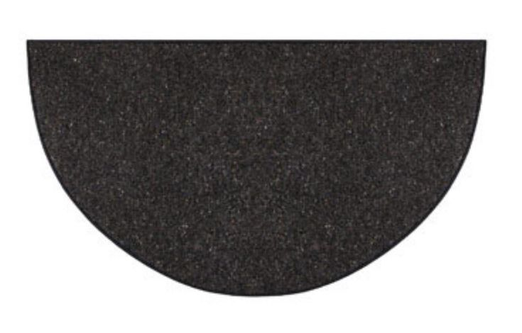 "Goods Of The Woods 10320 Andiron Wool Hearth Rug, Half Round, Black, 27""X48"""