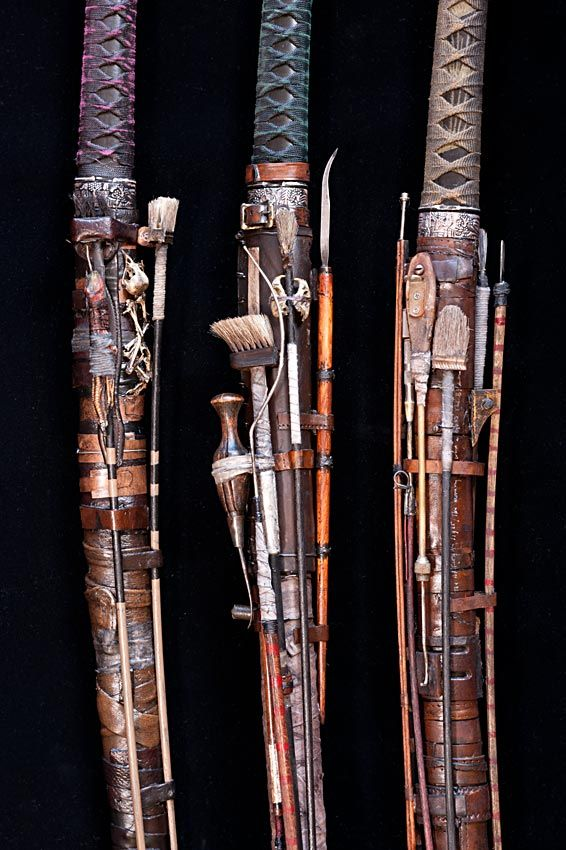 "Ron Pippin, ""Katanas"" (Japanese swords worn by the samurai class of feudal Japan) Modern versions are sometimes made using nontraditional materials and methods"