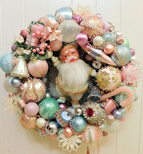 Vintage Shabby Cottage Chic Christmas Ornament Wreath with