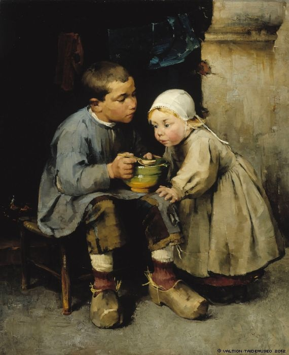 Schjerfbeck, Helene: A Boy Feeding his Younger Sister, 1881