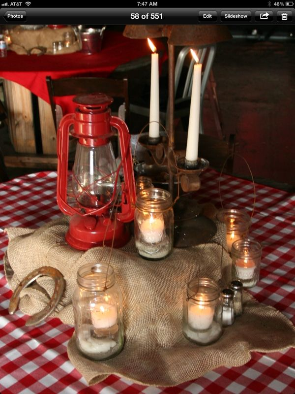 Gab a lantern, a few mason jars and candles and lighting the table for an evening tablescape.   Tamera event design gets the credit for this Western Tablescape.