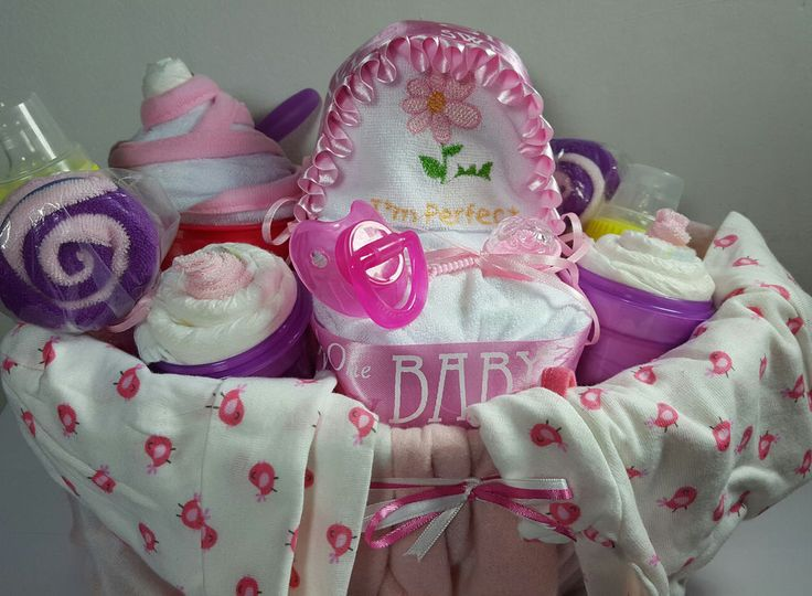 Baby Shower Party Pink Gift Basket For Girls - 39 items including Gerber Baby #Handmade#Sprinkle #BabyShower #Baby #Shower #SALE #IDEAS #DIY #Gifts #Cute #Crafts #BabySprinkle #Etsy #eBay  #LittleHomeMades #JCsBabyShowerGifts