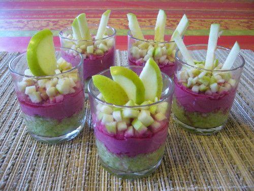 Mousse de betterave et tartare de concombre-pomme verte - 1, 2, 3, 4 filles aux…