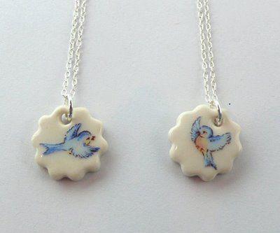 Blue bird porcelain necklaces (Iggy and Lou Lou)