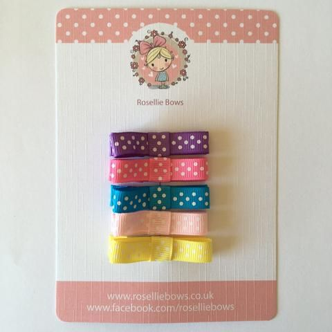 Spotty bow pack! Five cute small spotty bow clips