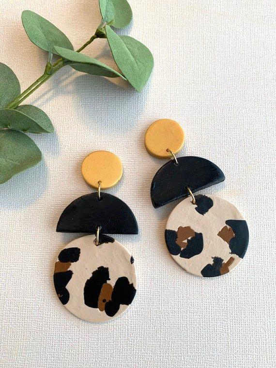 Handmade Polymer Clay Earrings Minimalist Milky