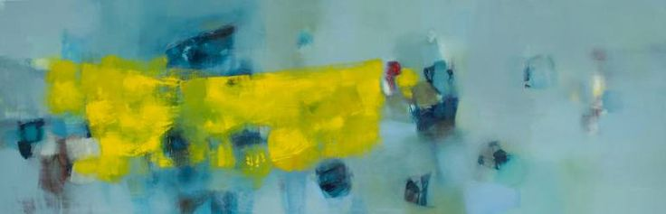 This painting is dedicated to Venice. It is abount space and light, riflections in water. 33.15, oil on canvas, 150x50 cm Venice, 2015 Title, signature of the artist on the back. © Elio Cassara'