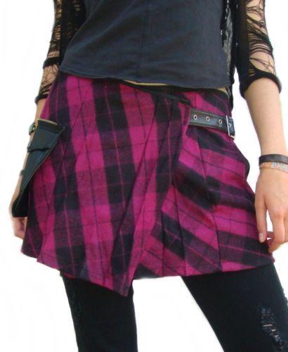 Minifalda-Cinturon-Gotico-Cuadro-fucsia-Punk-Rave-Rock-hip-Falda-fruncida