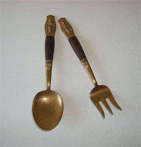 vintage Salad Serving Utensils from Thailand, Large Fork & Spoon, Asian Mid-Century Modern