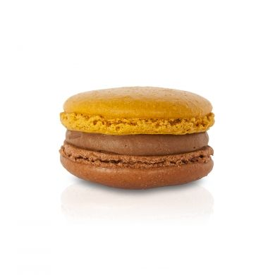 Salted Caramel Espresso Macaron. A salted caramel milk chocolate ganache, infused with espresso and enhanced with a touch of sea salt