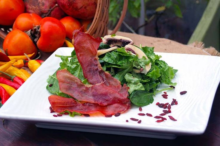 Green salad with marinated mushrooms, goji berry and crispy prosciutto with rosemary vinaigrette. Paparouna Wine Restaurant & Cocktail Bar | Our Chef suggests for today...